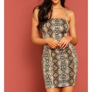 Snakeskin Print Bodycon Cami Mini Dress